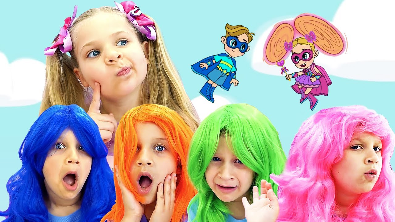 Diana and Roma Learn Colors with Rainbow Hair