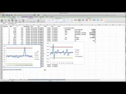 MIcrosoft Excel: X and R Control Charts