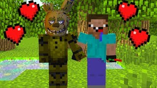 NOOB VS FNAF SPRINGTRAP BECOMING FRIENDS MINECRAFT TROLL + ROLEPLAY
