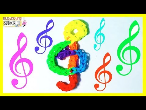 Diy Rainbow Loom Charms TREBLE CLEF Music Design on loom forks rubber bands how to charms