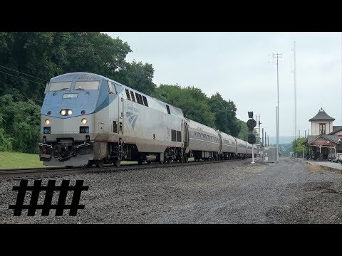 Pennsylvanian 42 Amtrak P42DC 94 Arriving and Departing Lewistown Train Station PT 165.7