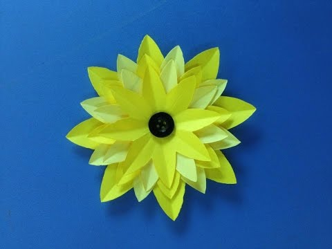 How to make sunflower paper flower | Easy origami flowers for beginners making | DIY-Paper Crafts