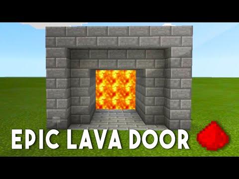 MCPE REDSTONE LAVA DOOR - Minecraft Redstone Tutorial
