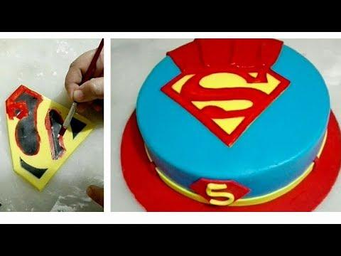 SUPERMAN CAKE. Handpainted Superman Cake. Superman logo on fondant cake without any logo cutter