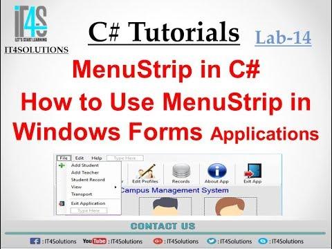 C# Tutorial - Using MenuStrip in C# Windows Form Application