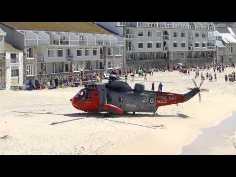 Royal Navy Rescue Porthmeor Beach, St Ives, Cornwall