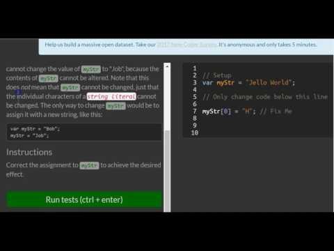 Understand String Immutability, freeCodeCamp Basic Javascript