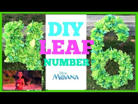 Diy Jungle Leaf Numbers moana Party $5 or less