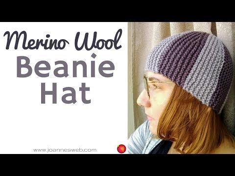 Easy Knitted Two Color Beanie Hat - Merino Wool Yarn Knit Cap - Soft Yarn Knitting Projects