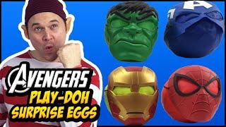 Superheroes Avengers Assemble Play Doh Kinder Surprise Eggs   Iron Man Spiderman Hulk KevsToyFun