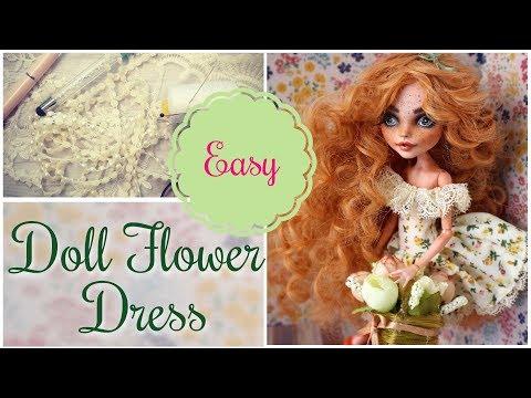 DIY Romantic Flower Dress for Monster High Dolls / How to Make Doll Dress Easy Craft Tutorial Barbie