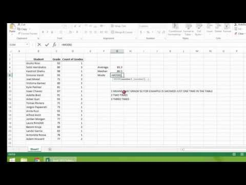 Excel  2013 Tutorial   How to Calculate Arithmetic Mean (Average), Median, and Mode