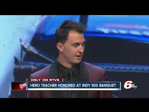 Teacher who stopped school shooter honored at Indianapolis 500 Victory Celebration