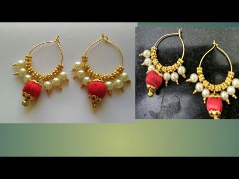 How to make quick and easy silk thread earrings|Diy pearl hoop earrings