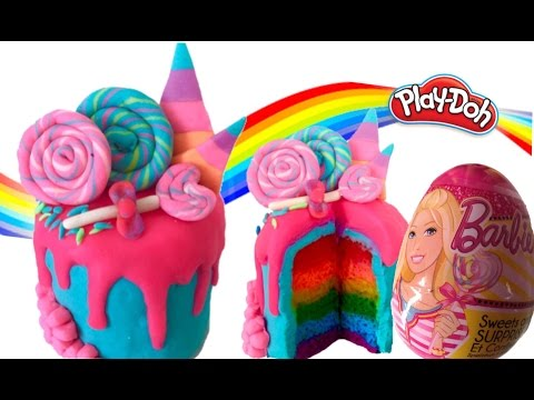 PLAY-DOH CREATIONS LEARNING RAINBOW BARBIE LOLLIPOP DRIP CAKE PLASTICINE CREATIVE TUTORIAL FOR KIDS