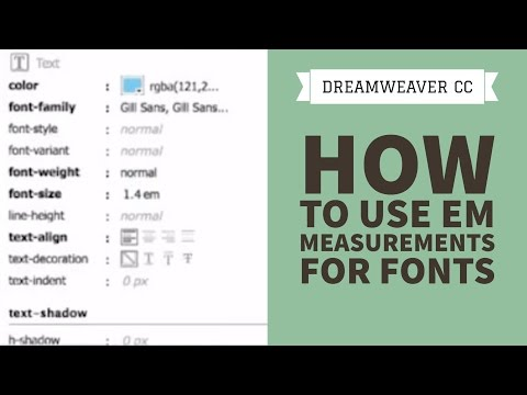 How to use Em measurements for fonts in Dreamweaver CC [20/34]
