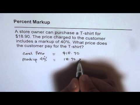 Find Sale Price After 40 Percent MarkUp