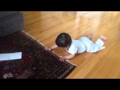 G Baby - Crawling on hardwood floors is hard work