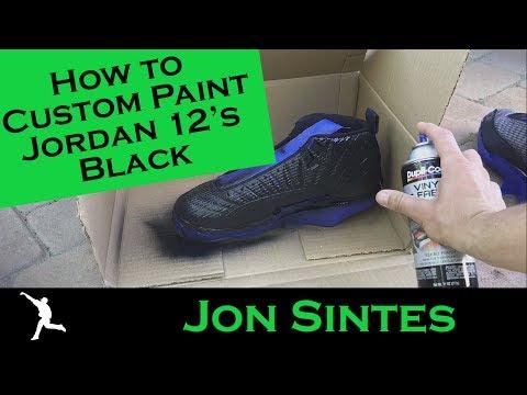 How to Custom Paint Jordan 12's Black