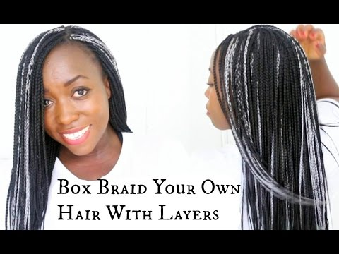 How To Box Braids Own Hair For Beginners At Home Create Layers with xpression hair on Natural Hair