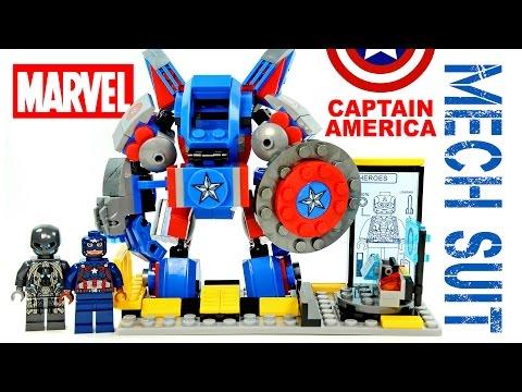 LEGO Avengers Captain America Mech Suit + Tony Stark's Lab KnockOff Set Review