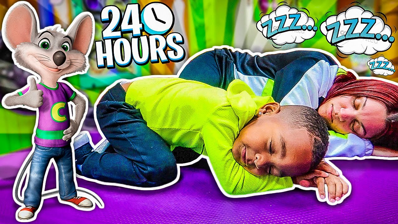 24 HOUR OVERNIGHT CHALLENGE At Chuck E Cheese With DJ's Clubhouse