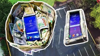 Galaxy S8 100 FT Drop Test! $25 vs $1000 Cash Case Faceoff!