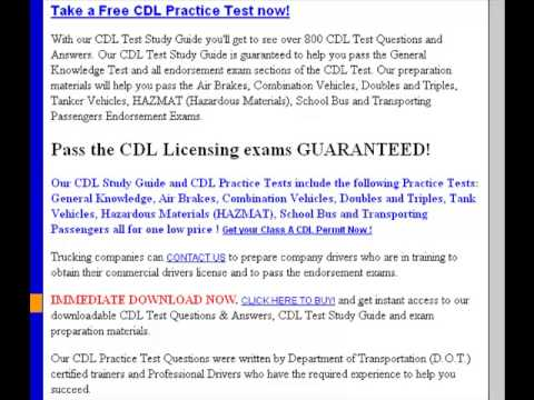 Pass CDL Test Guarenteed Answers | Commercial Drivers License