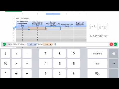 Calculating the Wavelengths of the Atomic Transitions of Hydrogen using Numbers on an iPad