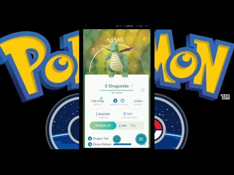 Pokemon Go! Evolution Party with a shiny Dragonite and powering him up! #pokemongo