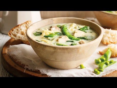 Springtime Chicken, Spinach and Sugar Snap Pea Soup | 2015 Milk Calendar