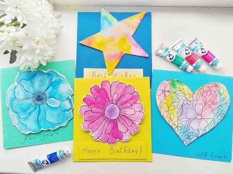 DIY Easy Watercolor Cards Ideas / Greeting Card Making Tutorials. Part 1