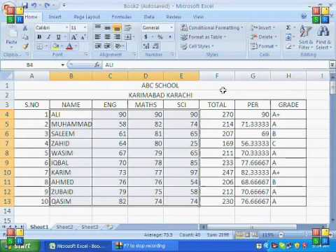 MS Excel 2007 Tutorial in Hindi - Formula of Addition,Subtraction,Multiplication,Division etc
