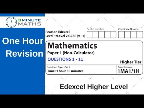 Revision for Edexcel 9 - 1 Higher Maths Practice Revision Questions 1 - 11