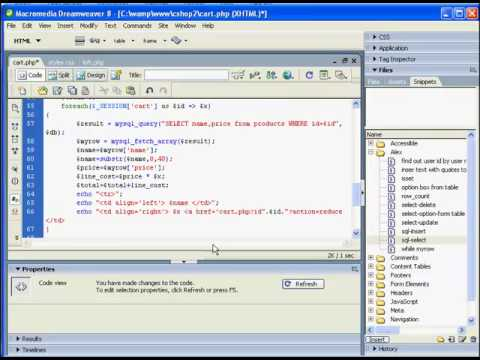 PHP Shopping cart using SESSION variables - part 4