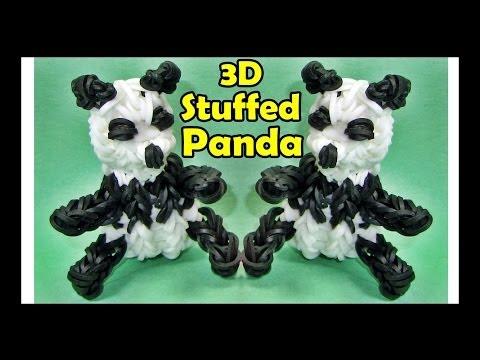 How to Make a Rainbow Loom PANDA / Stuffed Animals 3D Charm Design