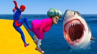 Spiderman vs Scary Teacher Shark Challenge - Game Animation