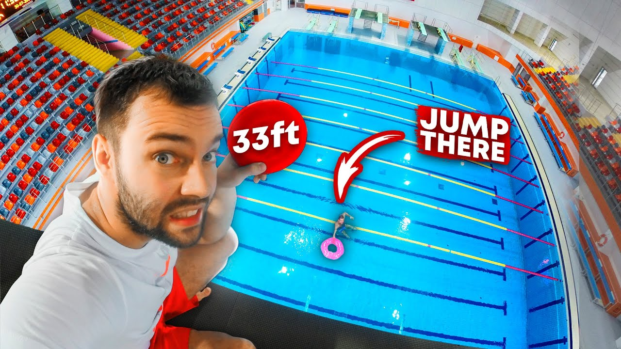 JUMP INTO THE FLOATY RING | Swimming pool impossible shapes challenge