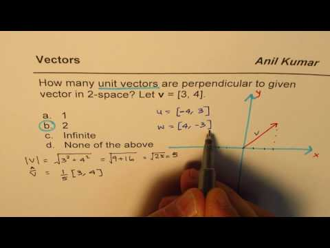 How many units vectors are perpendicular to a vector in two space