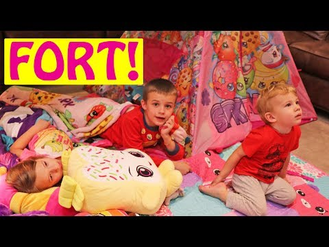 Blanket Fort & Play Tent Building For Kids Movie Night of Shopkins Wild