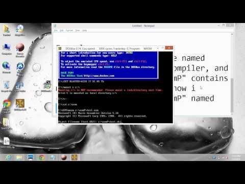use dosbox to compile MASM assembler for 64bit processors