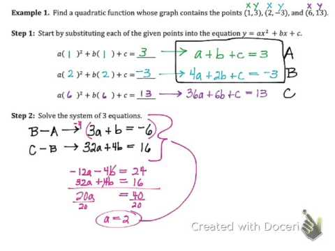 Writing a Quadratic Function Given 3 Points (5.7A)