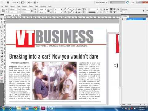 Tutorial on creating a newspaper page in Indesign.