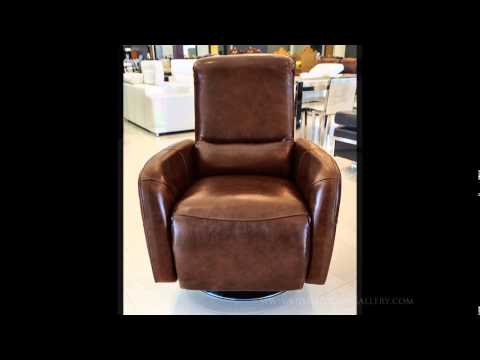Modern Leather Recliner Swivel Chair - Tan - Celestino