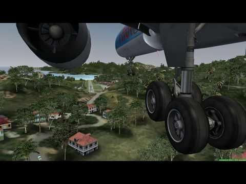 FSX Crash Landing TNCM Fly Tampa St Barthelemy CS 757