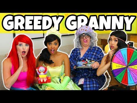 GREEDY GRANNY IN REAL LIFE CHALLENGE. (We Play Ariel vs Pocahontas vs Tiana)