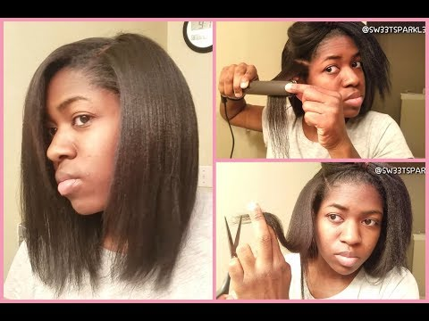 How to Trim and Flat Iron your Hair at Home💇🏾♀️