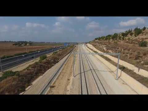 Recently installed electrification portals of A1 Tel Aviv-Jerusalem railroad