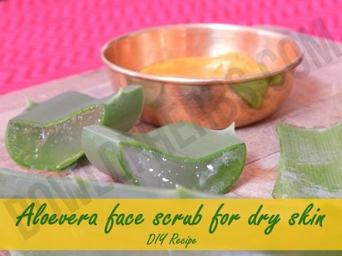 How To Make Aloe Vera Face Scrub For Dry Skin - Beauty Remedy   Bowl Of Herbs