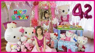 Ely and Ela open the world's biggest Hello Kitty Giant Surprise Egg for Hello Kitty's 42nd birthday during the huge Hello Kitty Birthday Party with many Hello Kitty toys. It's November 1st 2016 and Hello Kitty turns 42 years old today!. The egg giant surprise is full of Sanrio Hello Kitty toys. And guess who's at the Hello Kitty birthday party? Why, it's Hello Kitty herself. She gets three awesome toys for her birthday: Hello Kitty Dance Party Limo, Hello Kitty Push Along Scooter, and a Hello kitty School Bus. Giant Hello Kitty is so excited to see the giant egg surprise and can't wait to do a surprise egg opening of the large surprise egg. Opening surprise egg which is the biggest surprise ever in the world for Hello Kitty, she's so excited to get all the birthday presents. What a giant egg surprise Hello Kitty, you sure are one lucky kitty.  Ely and Ela are so happy to invite Hello Kitty to open the largest Hello Kitty egg in the world. What a super surprise egg! It's such an egg giant it's taller than Ely and Ela. The Sanrio toys Hello Kitty Dance Party Limo includes a limousine, two figures, a camera, trays, tea cups, soda cans, cupcakes and donuts. The limousine transforms into a dance party. The Dance Party Limo is also known as Limousine Fete Dansante and Limusina Para Fiestas. The Hello Kitty Push along Scooter, also known as a Trottinette, has a Hello Kitty rolling action and a pop on and off helmet. The Hello kitty School Bus is also known as a Bus Scolaire, Schulbus, Scuolobus, Autobus Escolar and Autocarro Escolar.   Back to the Hello Kitty Birthday Party! Giant Hello Kitty has her eyes closed. When Hello Kitty opens her eyes, she discovers a giant Hello Kitty egg surprise. She's so happy at the Hello Kitty Birthday Party. After all the Sanrio toys have been opened, it's time for party food. There's a Hello Kitty birthday cake and Ely and Ela sing the Hello Kitty birthday song. She's so happy to hear the Hello Kitty song and eat her favorite foods: Hello